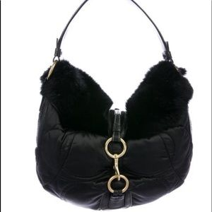 Coach Quilted Fur Trim Hobo Black
